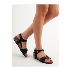 Dámske čierne sandále na kline  - SK46B