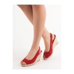 Dámske červené sandále na kline  - YY29R