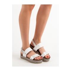 Dámske biele sandále na platforme  - AK26W