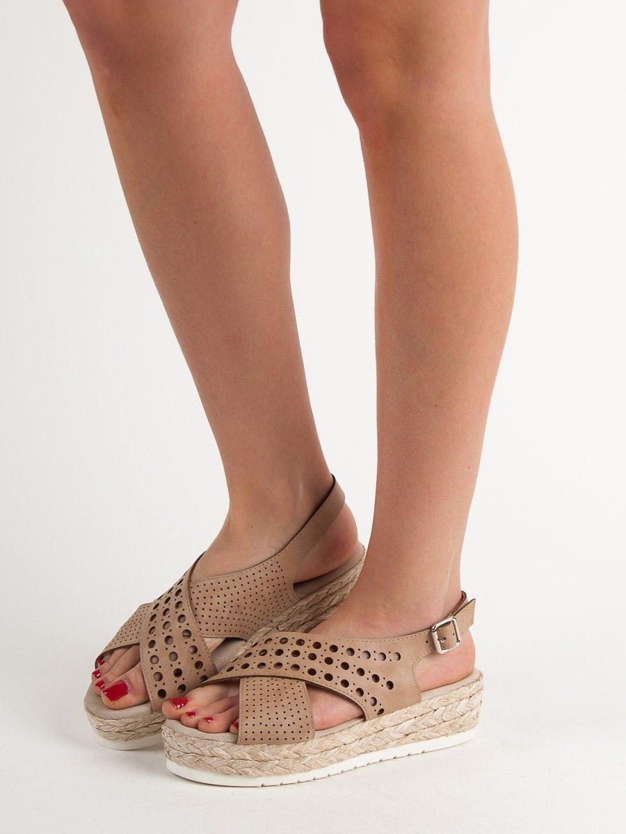 4d3737d233af Dámske hnedé sandále na platforme - B119-09-01C