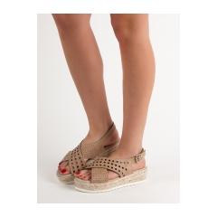Dámske hnedé sandále na platforme  - B119-09-01C