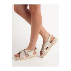 35547573a059 Dámske béžové sandále na platforme - B119-09-01BE
