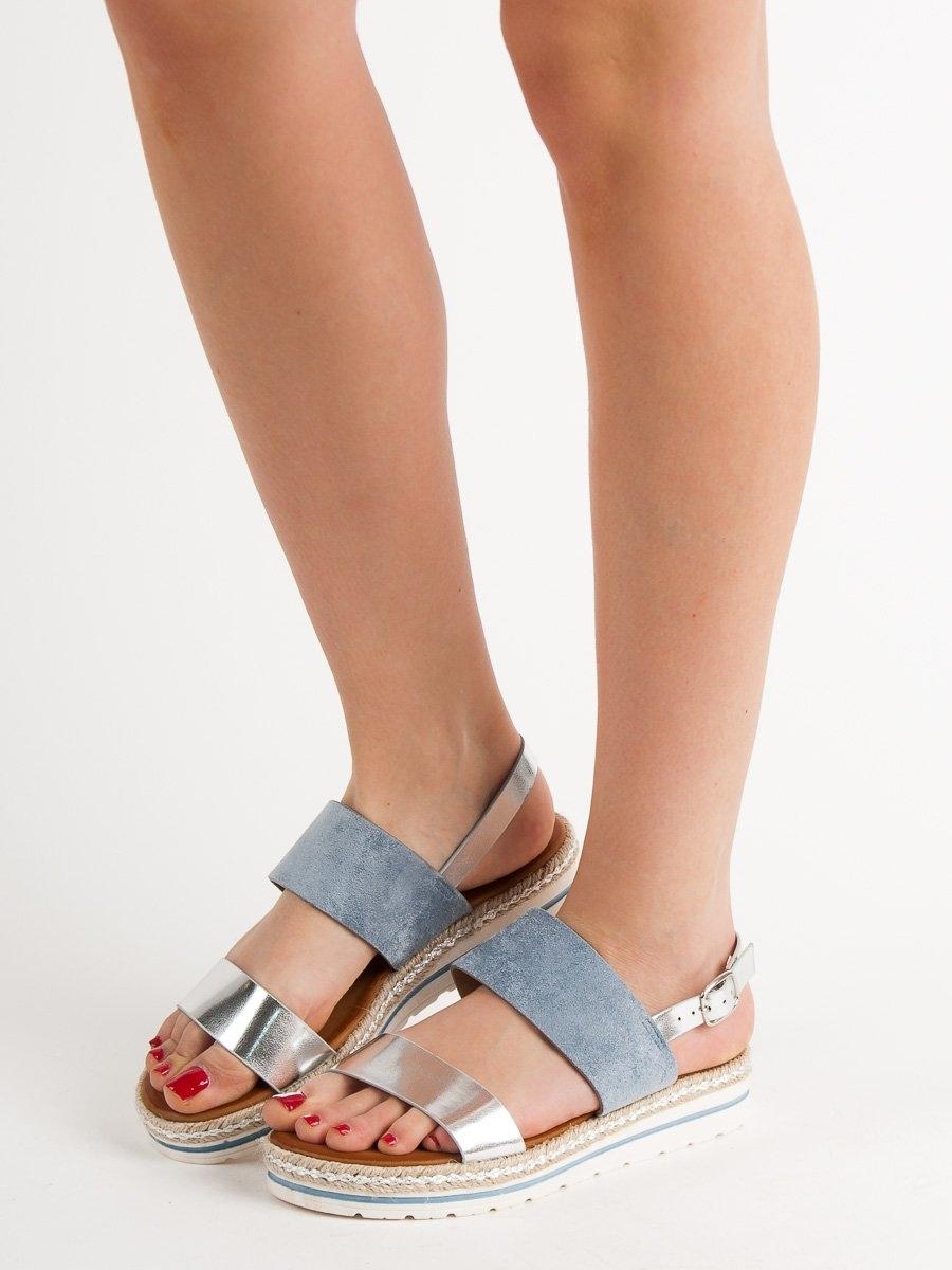 8d3b570aa6 Dámske modré sandále na platforme - F056BL