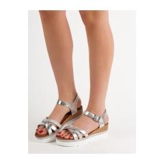 2a7eb7270b8b Dámske strieborné sandále s kamienkami - GG-64S