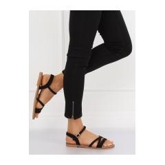 726b56794535 Dámske čierne ploché sandále - S55