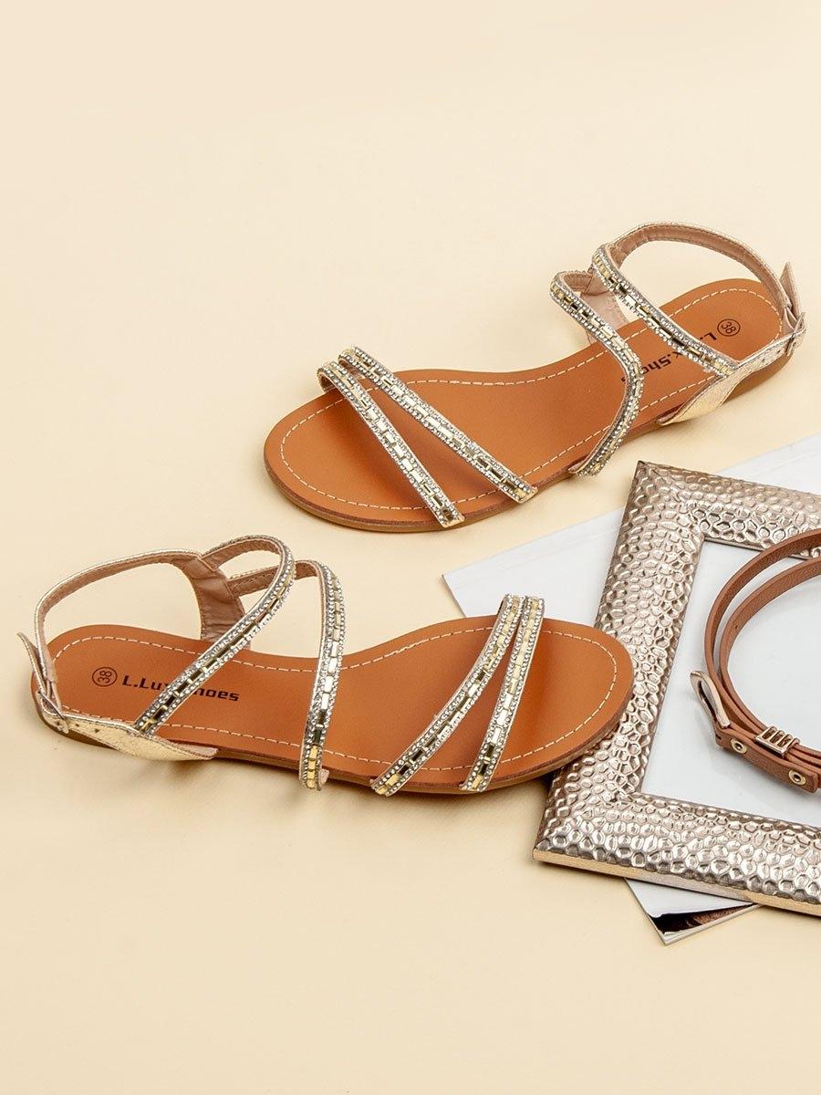693378418e2b Dámske zlaté ploché sandále - WL-015GO