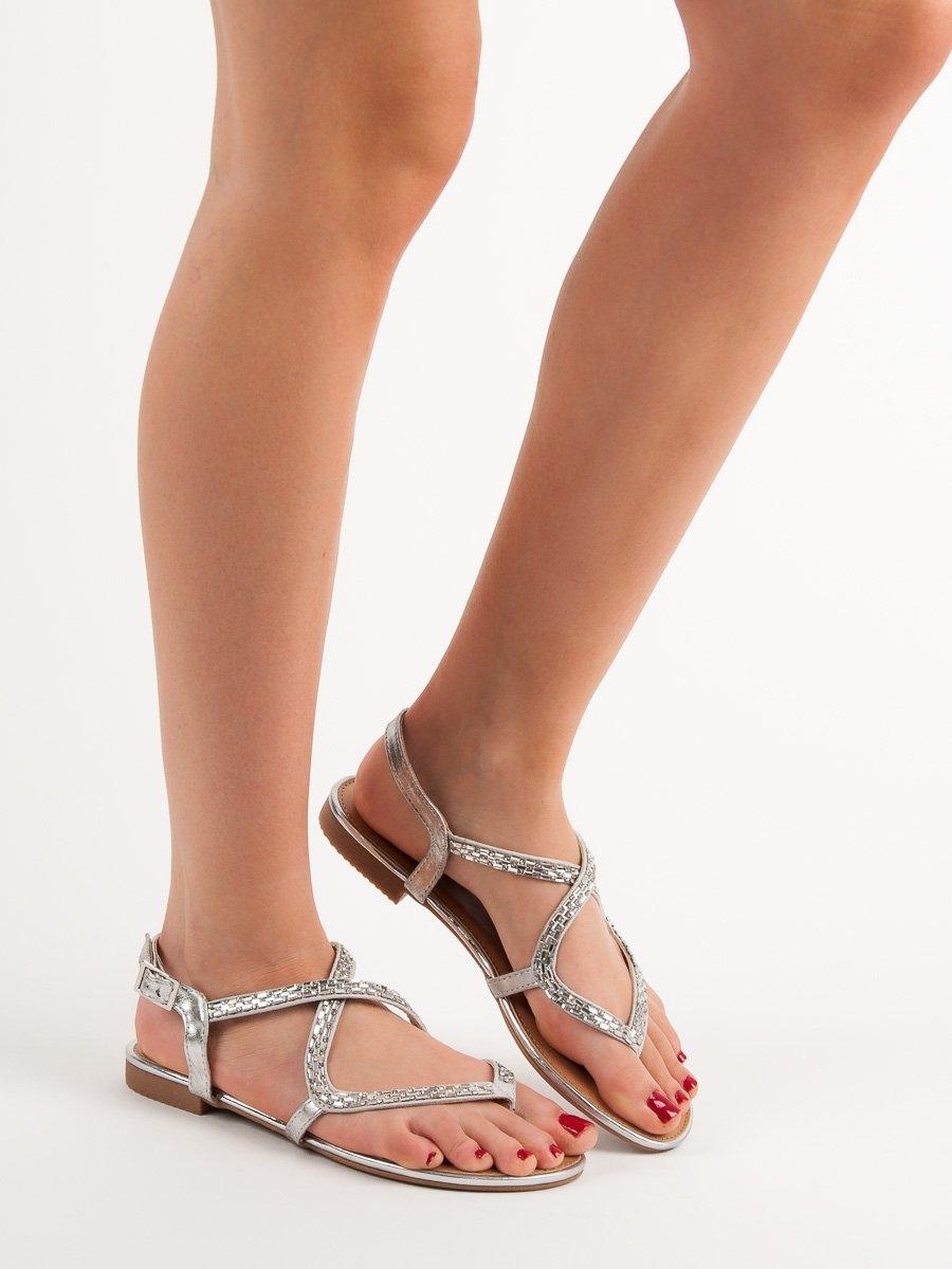 f71d43a621 Dámske strieborné sandále - FE07S