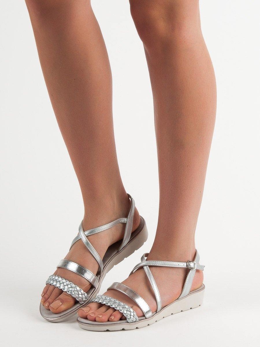 d35162ea691ff Dámske strieborné sandále na platforme - K1915005PL | dawien.sk