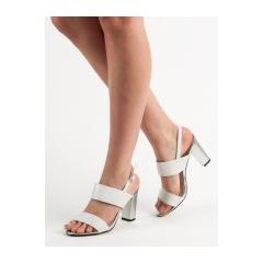 cfd7a44002e3 Dámske biele sandále na stĺpcovom podpätku - GD-FL142W