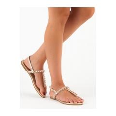 Dámske zlaté ploché sandále - ALS031GO