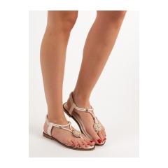 Dámske béžové ploché sandále - 7537BE