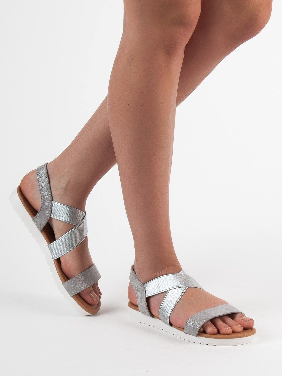 d99568f66e Dámske strieborné sandále s gumičkou - X565S