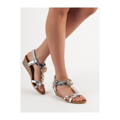 15a94954cb432 Dámske strieborné sandále - B135-6S