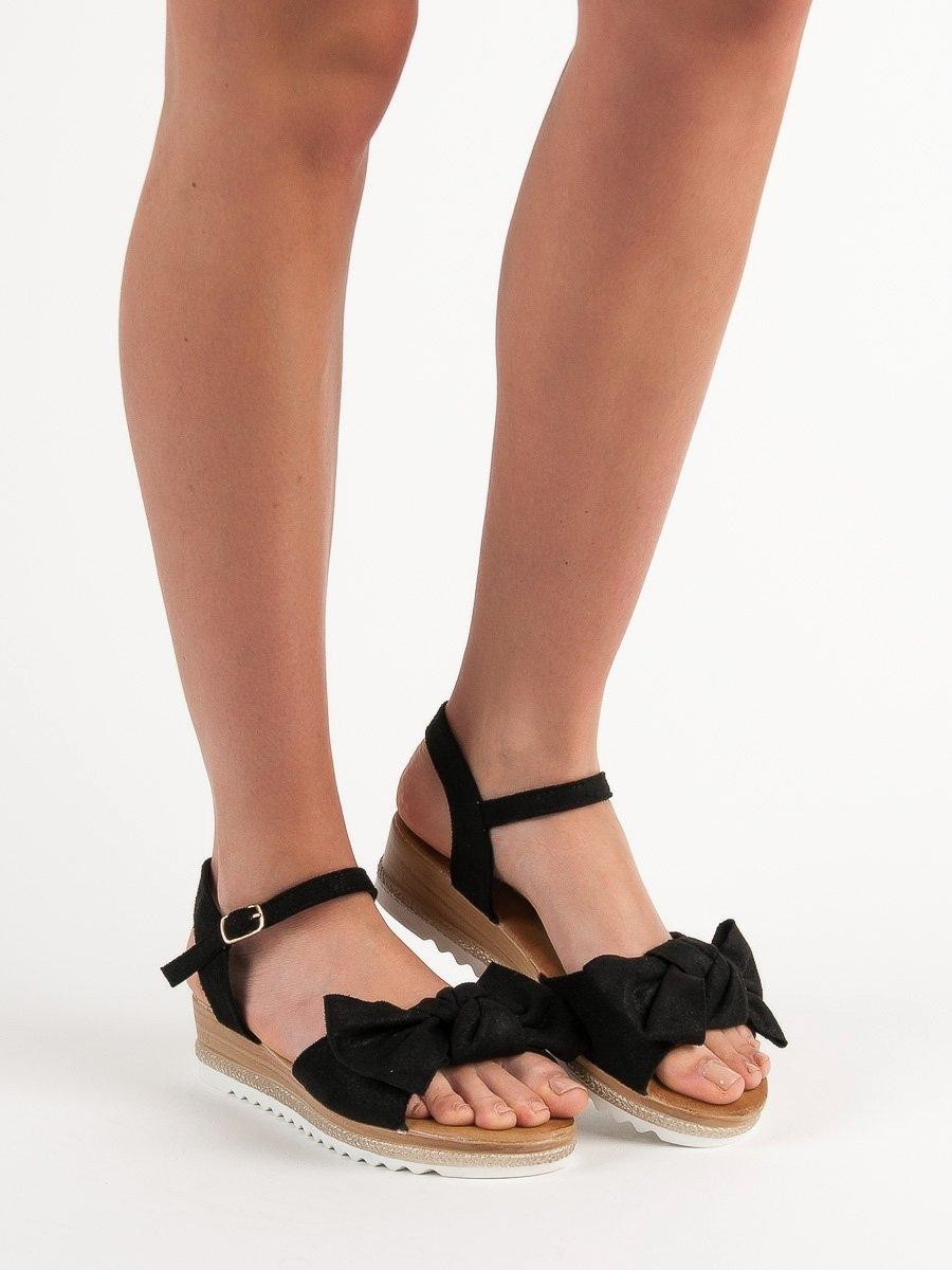 086ab77835991 Dámske čierne sandále s mašľou - S73B   dawien.sk