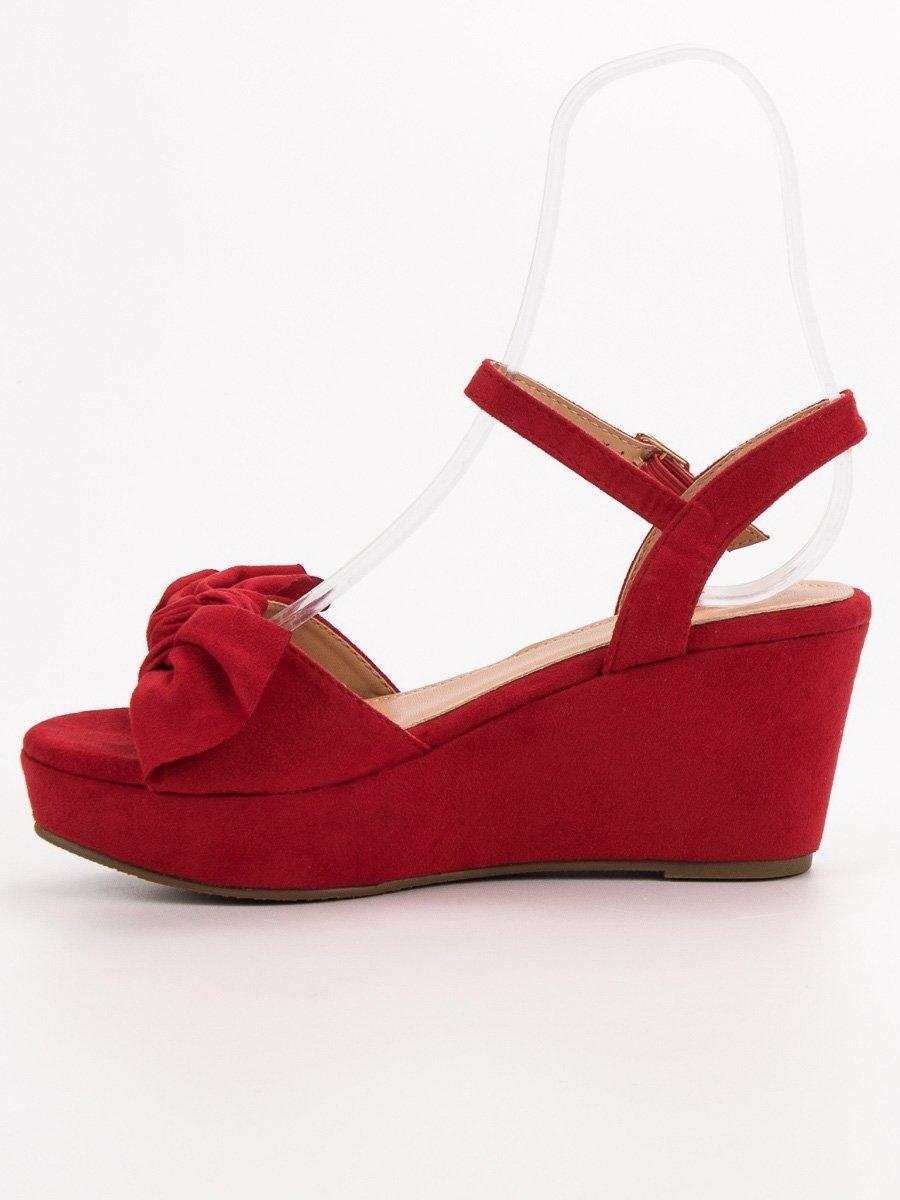 8e23f61dc8 Dámske červené sandále s mašľou - F055R