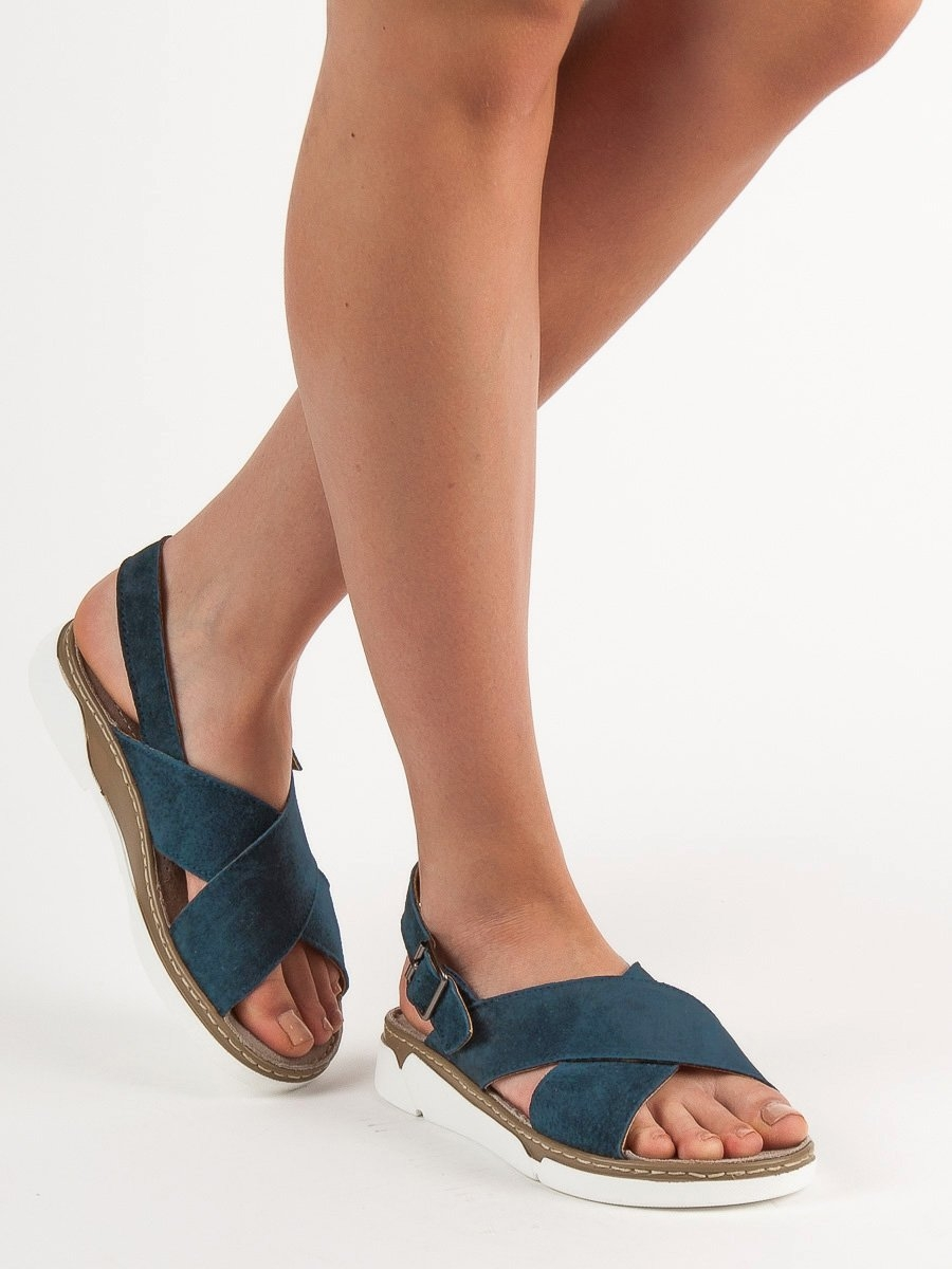 05a9729176 Dámske modré kožené sandále - DS041 19N