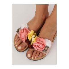 ec4e42e3678b Dámske ružové korkové šľapky s kvetmi - 218-170