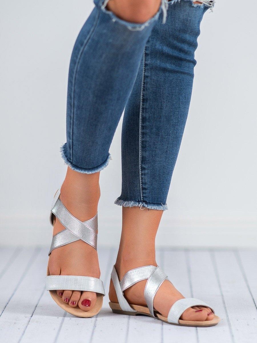 9e7eaeb0b8 Dámske strieborné sandále s gumičkou - 8SD77-2332S