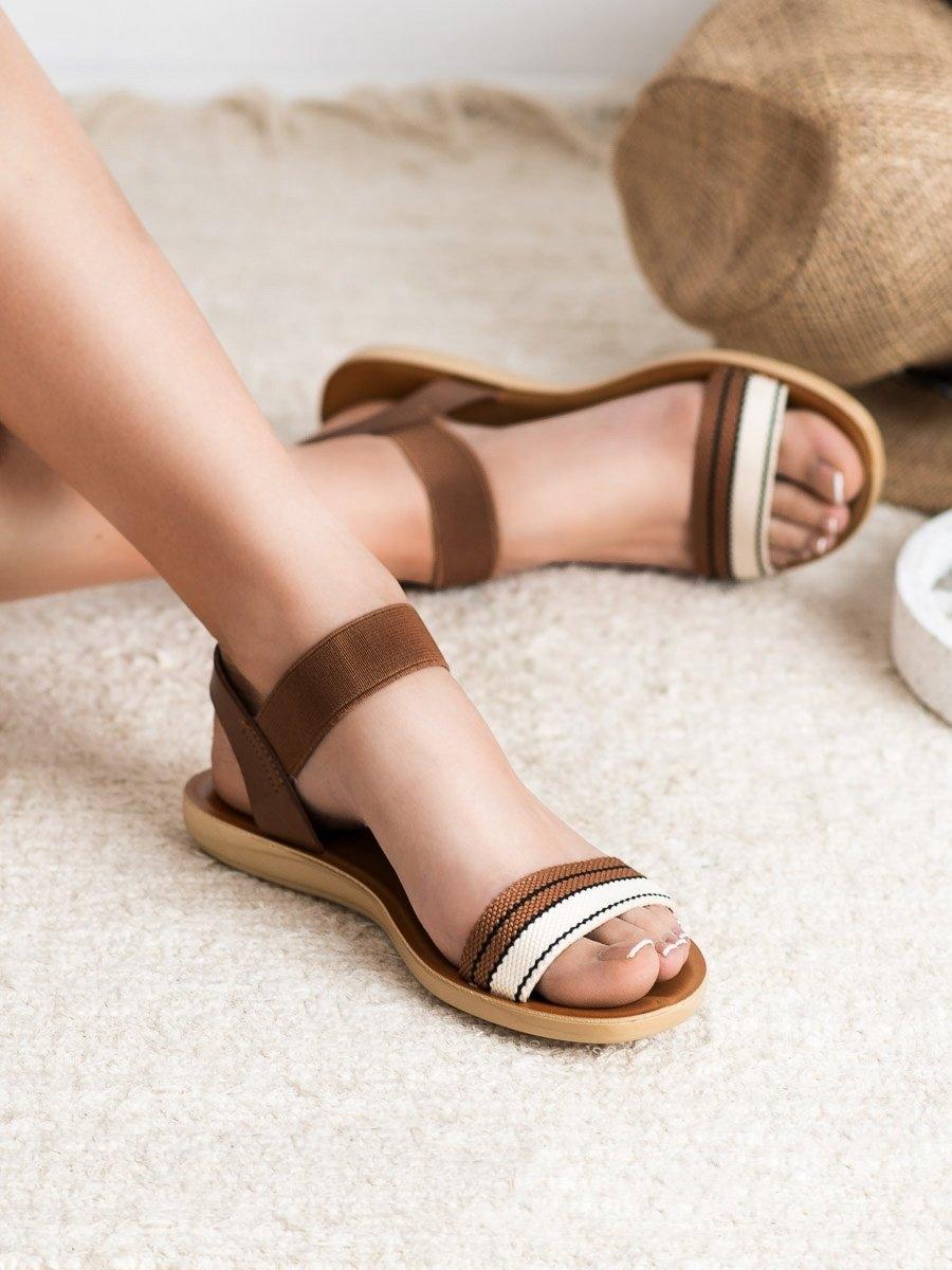 1dadb1c8a Dámske hnedé sandále s gumičkou - D-15BR | dawien.sk