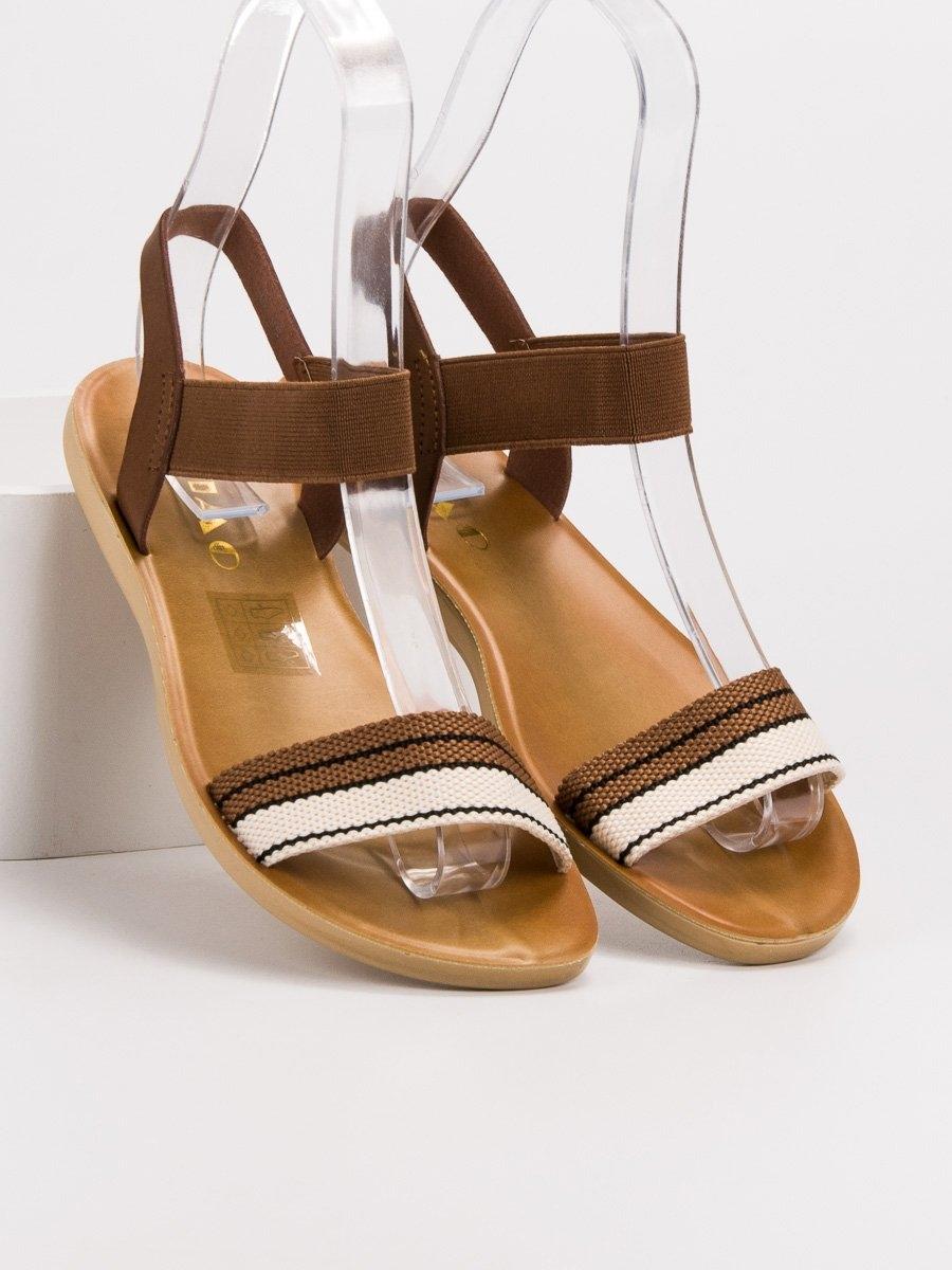 1848cf67a2 Dámske hnedé sandále s gumičkou - D-15BR