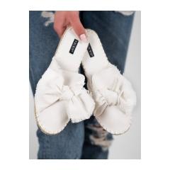 Dámske biele šľapky - 8433-41W