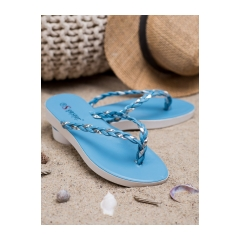 Dámske modré pletené žabky - NK16BL