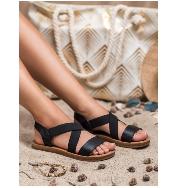 Dámske čierne sandále s gumičkou - TS-13B