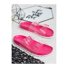 Dámske ružové transparentné šľapky  - SE-9605RO/R