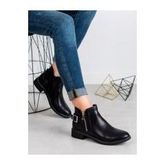 Dámske čierne členkové topánky SNAKE PRINT - HQ995B
