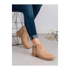 Dámske béžové členkové topánky SNAKE PRINT - HQ995BE