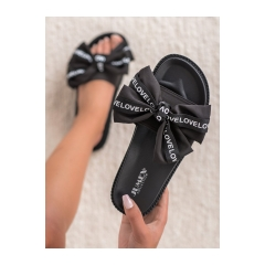 Dámske čierne šľapky s mašľou LOVE  - YQ10066B