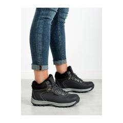 Dámske čierne zateplené trekingové topánky - BM97445-2B