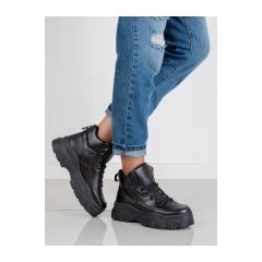 Dámske čierne členkové topánky na platforme  - K1941303NE