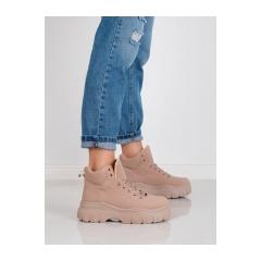 Dámske hnedé členkové topánky na platforme  - K1941303NU