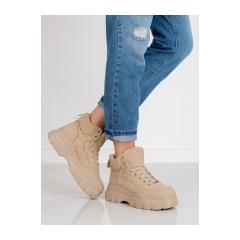 Dámske béžové členkové topánky na platforme  - K1941303BE