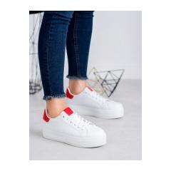 Dámske bielo červené tenisky - BO-31W/R