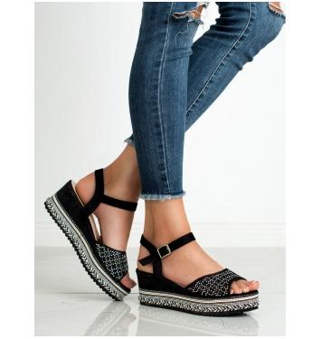 Dámske čierne semišové sandále  - B166-1B
