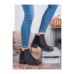 Dámske čierne členkové topánky  - HX20-16128B