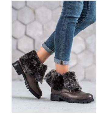 Dámske šedé členkové topánky - NC701G