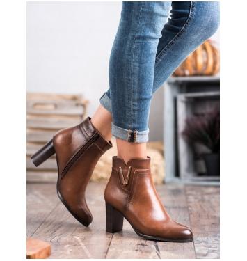 Dámske hnedé členkové topánky  - XY20-10491C