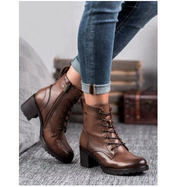 Dámske hnedé členkové topánky - XY20-10458C