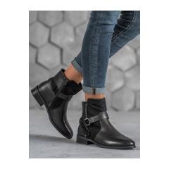 Dámske čierne členkové topánky - 1046PA-B