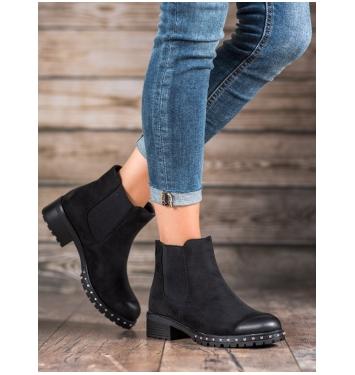 Dámske čierne členkové topánky  - 9810B