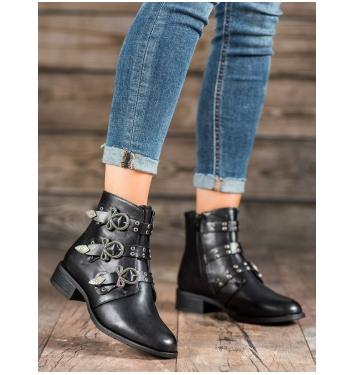 Dámske čierne členkové topánky  - BO-269B