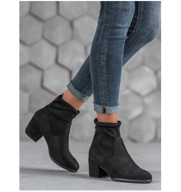 Dámske čierne členkové topánky na zips  - 2746-1B