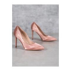 Dámske ružové saténové lodičky  - T5014P