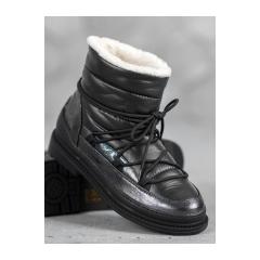 Dámske čierne snehule - 9230-1B