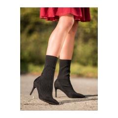 Dámske čierne členkové topánky - T5033B