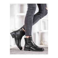 Dámske čierne členkové topánky  - A8001/A-B