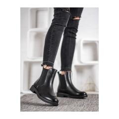 Dámske čierne členkové topánky - 9BT35-1489B